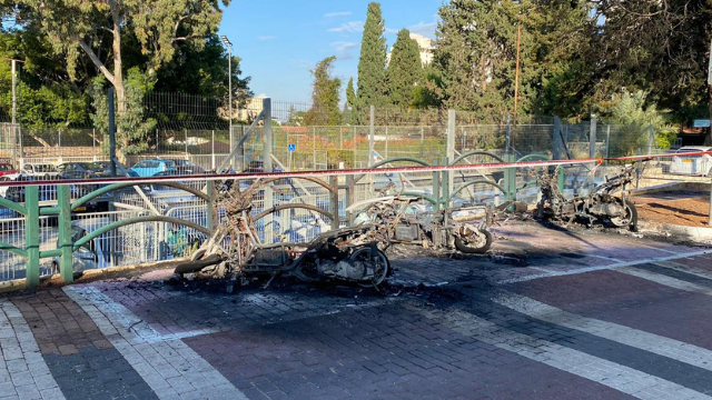 הצתת קטנועי הפיקוח העירוני