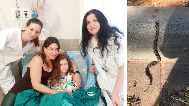 גאיה ואמה ג'ודי יחד עם אילנה טביב, מנהלת הסיעוד של מחלקת ילדים ואביבה וייץ, פיזיותרפיסטית, מרכז רפואי מאיר