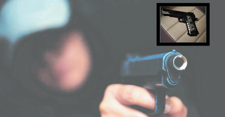 האקדח שנתפס (בתמונה הקטנה) | צילומים: משטרת ישראל, שאטרסטוק