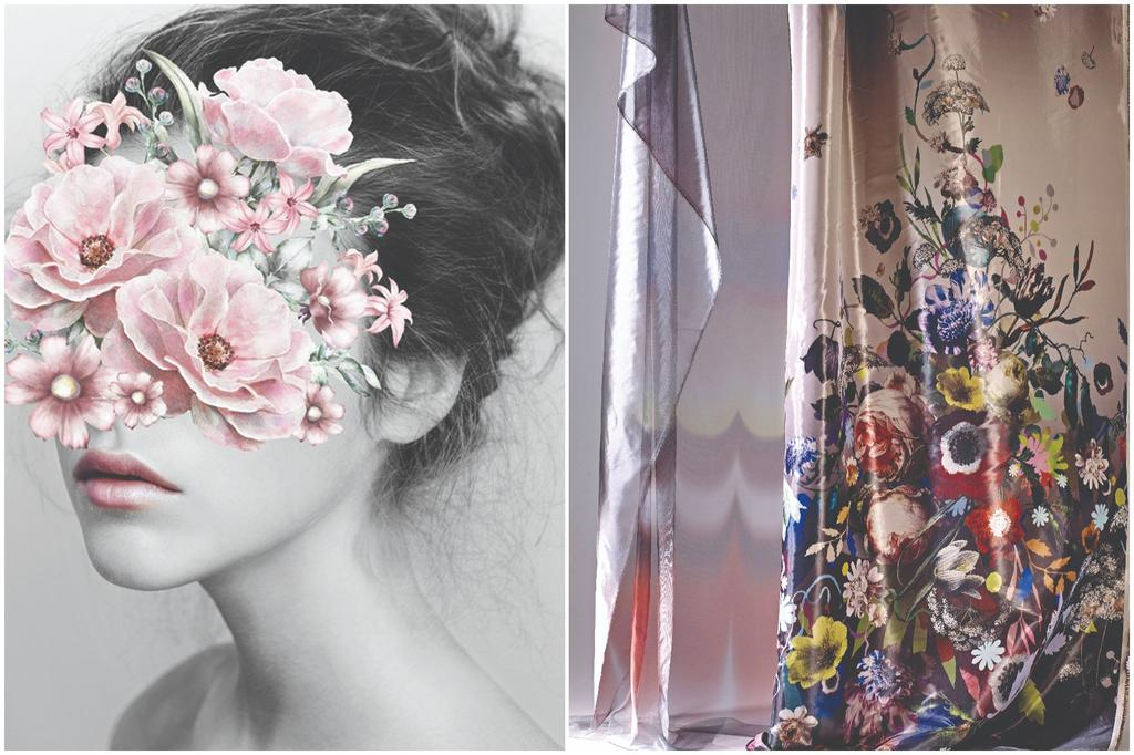 וילון שקוף בהדפס פרחים דומיננטיRENBY. תמונת Flower Face ממוסגרת, להשיג בחנות ŪBJECT